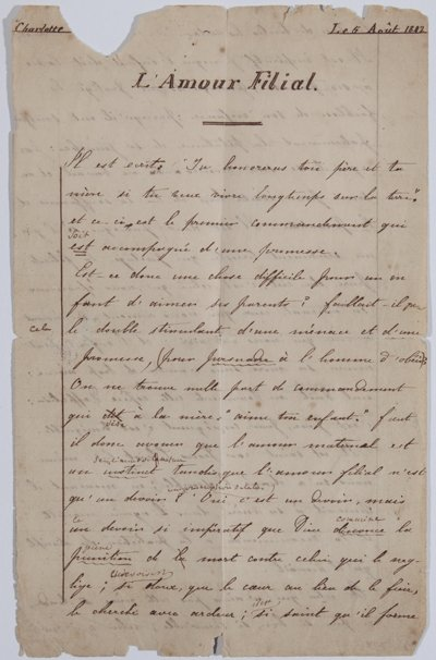 A page from Charlotte Brontë's homework. With thanks to Sue Lonoff de Cuevas and the Brontë Society