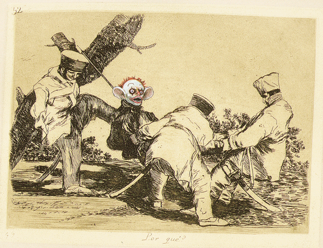 "From Insult to Injury, 2003, a portfolio of eighty of Francisco de Goya's Disasters of War etchings, ""reworked and improved"" by Jake and Dinos Chapman, 14 9?16? × 18 1?2? © The artists. Courtesy White Cube, London. Photograph by Stephen White"
