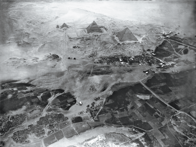 """The Pyramids of Gizeh near Cairo from an altitude of approx. 600 m, 21 February 1904,"" courtesy Swiss Federal Archives for Historic Monuments, Eduard Spelterini Collection"
