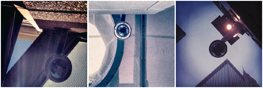 iPhone photographs of surveillance cameras by Sheri Lynn Behr, from the series WatchingYou. Behr's work was recently on view as part of PhotoNOLA, in New Orleans, and at the Griffin Museum of Photography, in Winchester, Massachusetts © The artist.