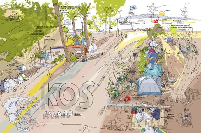 Olivier Kugler drawing of Kos Island