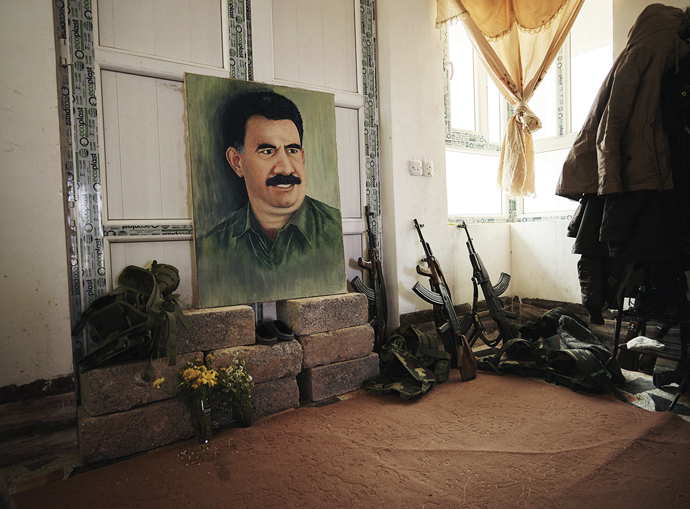 A portrait of Abdullah Öcalan, Sinjar Mountains, Iraq, March 2015