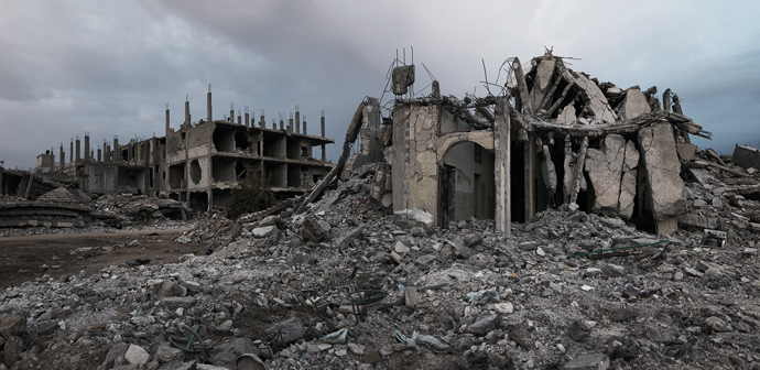 A neighborhood of Kobanî after an American air strike, Syria, December 2015