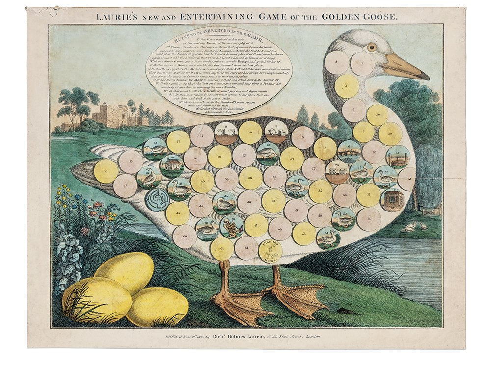 Laurie's New and Entertaining Game of the Golden Goose, a board game created by Richard Holmes Laurie in 1831, part of the exhibition Instruction and Delight: Children's Games from the Ellen and Arthur Liman Collection, which is on view this week at the Yale Center for British Art, in New Haven, Connecticut.