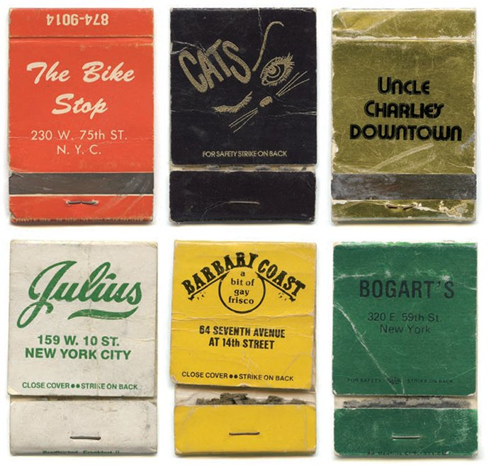 Matchbooks from The Bike Stop, Cats, Uncle Charlie's Downtown, Julius, Barbary Coast, and Bogart's