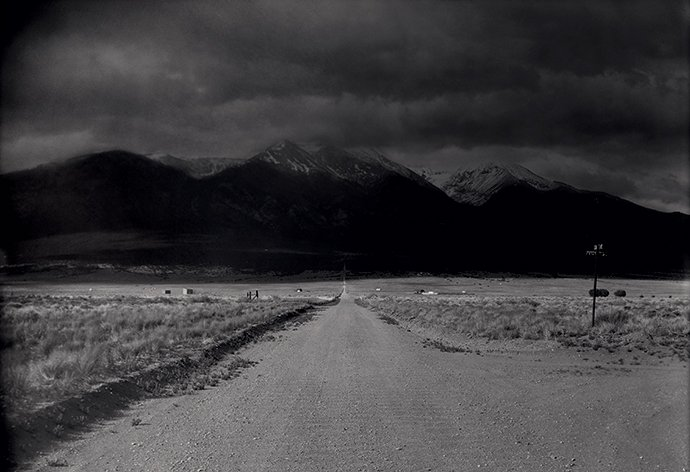 The crossroads of Grant Avenue and MM 14th Street, with Blanca Peak in the distance, San Luis Valley, Colorado (detail). All photographs from Colorado, May 2019, by Lisa Elmaleh for Harper's Magazine © The artist