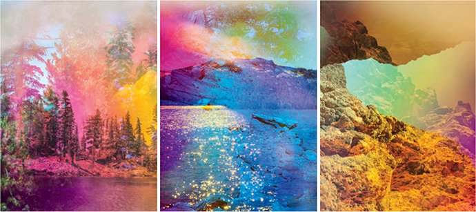 """""""Psychscape 493 (Lassen, CA), 2017,"""" """"Psychscape 06 (Gold Lake, CA), 2017,"""" and """"Psychscape 75 (White Rock Canyon, AZ), 2018,"""" photographs by Terri Loewenthal © The artist"""