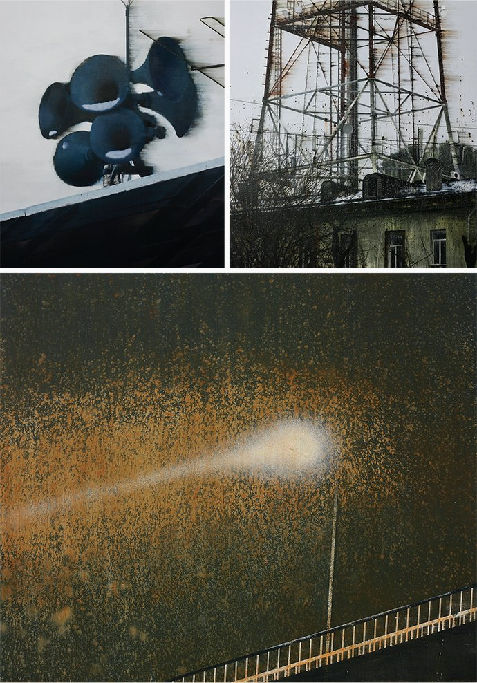 Louder, Power Tower, and Street Light, paintings by An Gyungsu, whose work was on view in June at PIBI Gallery, in Seoul.