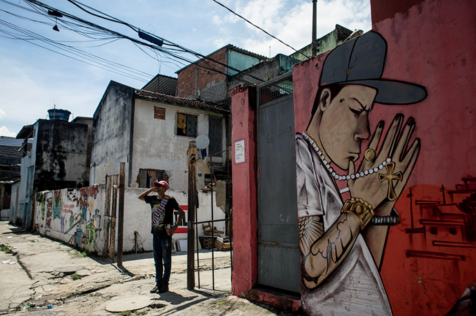 A mural commissioned by a member of the Comando Vermelho. All photographs from Brazil, December 2019, except where noted, by Nadia Shira Cohen for Harper's Magazine © The artist
