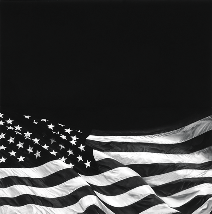 The Last Flag (Dedicated to Howard Zinn), a charcoal drawing by Robert Longo Courtesy the artist and Metro Pictures, New York City