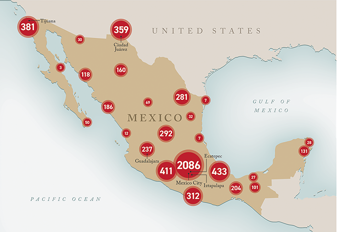 A map of the distribution of femicides in Mexico between January 2017 and December 2019